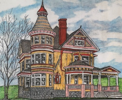 """Prairie Victorian -   5 x 7"""" art card by artist Nina Struthers - GIN ONLY"""