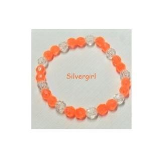 "Yellow Peach 6.5"" OR  Fluorescent Orange 6"" Stretch Bead Bracelet"