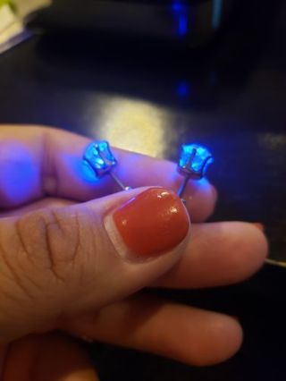 Light up LED earring studs, glowing stainless steel (halloween)