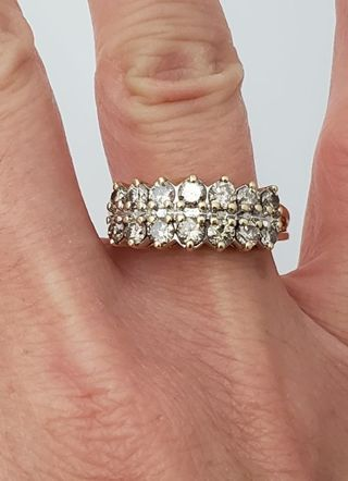 14K YELLOW GOLD 1.00ct ROUND DIAMOND 2 ROW RING 9mm