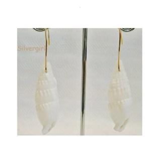 White Plastic Shell Earrings