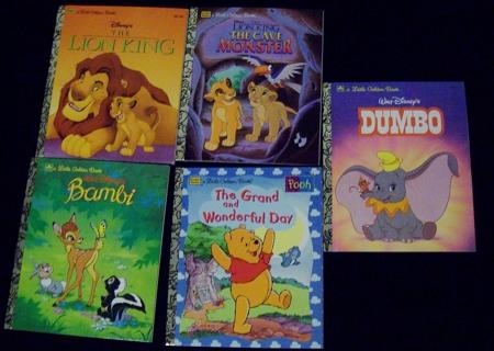 5 Disney Little Golden Books The Lion King, The Cave Monster, Bambi, Pooh, Dumbo