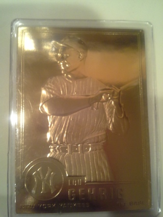 Free Gold Plated Lou Gehrig Baseball Card Other Collectibles