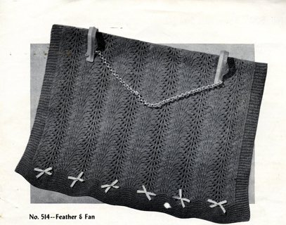 Free Vintage Knitting Pattern Feather Fan Afghan 1950s