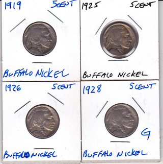 Free: 4 SEPARATE YEARS OF BUFFALO NICKELS (all G to VF