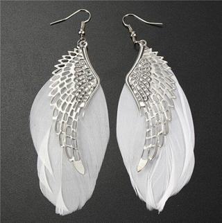 Hot Charms Angel Wing White Feather Dangle Earring Chandelier Drop Long Earrings