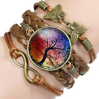 New Arrival Life Tree Pattern Braided Retro Bracelet Vintage Bronze Butterfly Bracelet & Bangles