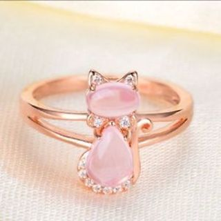 White Finger Rose Gold Color Pink Women Crystal Cat Rings Jewelry Animal