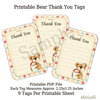Printable Bear Thank You Tags