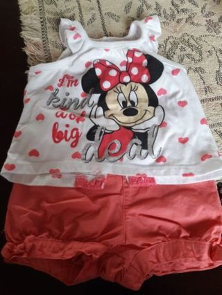 """Minnie"" T-shirt (12M), Pink/Coral Shorts (12M)"
