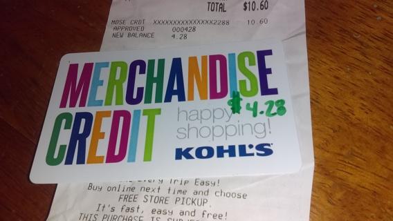 KOHL'S GIFT CARD $4.28