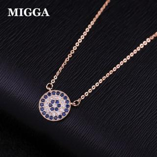 MIGGA Blue Cubic Zircon Crystal Evil Eye Pendant Necklace Short Clavicle Chain Women Choker Access