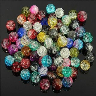 Mixed Crystal Crack Glass Round Loose Spacer Beads Charm 4/6/8/10/12mm