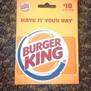 Brand New $10 Burger King Gift Card