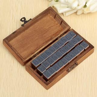 30pcs/pack Romantic Design Capital Letter Retro Vintage Wooden Craft Box Alphabet Stamp