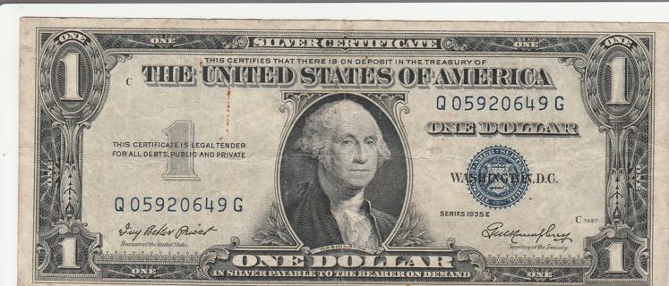$1 Silver Certificate Series 1935 E