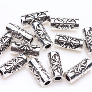 30Pc Tibetan Silver Flower Carving Tube Spacer Bead Charm Jewelry Finding 8x3mm