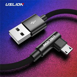 USLION 90 Degree Micro USB Cable For Samsung Xiaomi Huawei 2A Fast Charger Android Cable Mobile Ph