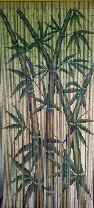 String Beaded Doorway Curtain Bead Japanese Bamboo Room Divider Wooden Stalks Painted Art