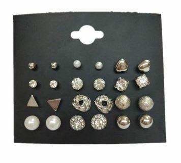 New Style Symbol Stud Earrings Set for Women Gift E1452 Black