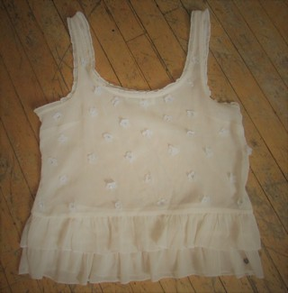 NWOT ABERCROMBIE & FITCH IVORY CAMI W/ FLOWER ACCENTS AND RUFFLED TRIM SZ XS