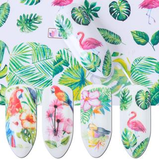 1pcs Flower Nail Sliders Water Decal Transfer Sticker Flamingo Rose Leaf for Adhesive Nail Art DIY