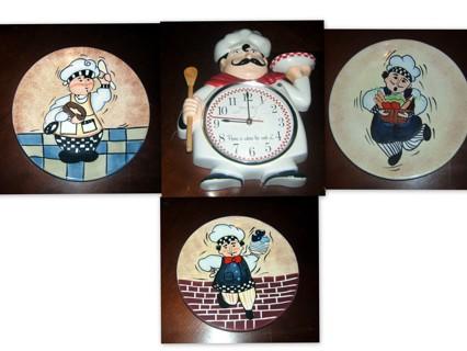 Sterling & Nick Kitchen Clock & Plates Set