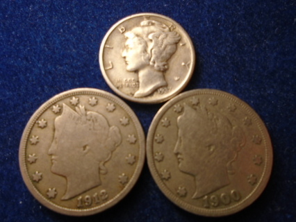 1900 1912-D & 1937-S OLD U.S. COINS WITH SILVER FULL DATES!