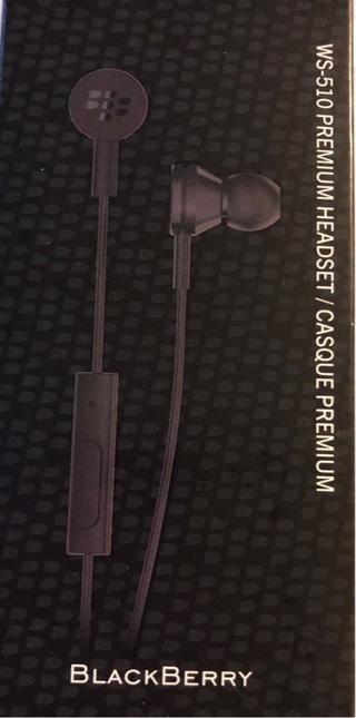 BNIP One Set Of Black BlackBerry WS-510 Premium Headsets. 3.5mm. For Music, MultiMedia...