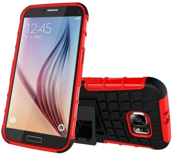 NEW SAMSUNG GALAXY s6 RED HYBRID◎ CASE HOUSING Scratch-Resistant Shock Absorbent NonSlip Kick Stand