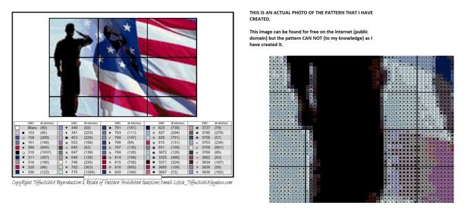 Soldier & American Flag Cross Stitch Pattern