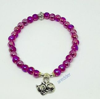 ♡☆ Pink Pearl AB Kitty Cat Stretch Beaded Bracelet NEW ☆♡