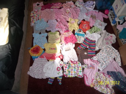 NEWBORN THRU 18MO. BABY GIRL BLOW OUT 50 PIECES & GIN BONUS