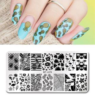 BORN PRETTY Nail Art Stamp Template Nail Stamper Flamingo Geometric lattice Image Pattern Printing