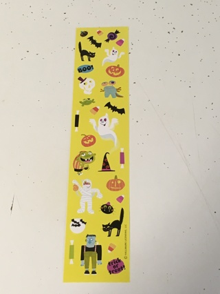 Foot long sheet of Halloween Stickers with Ghosts, Bats, and Monsters