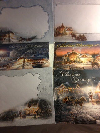3 BN Unused Christmas Greeting Cards w/ Matching Envelopes. Holiday Greetings Inside.