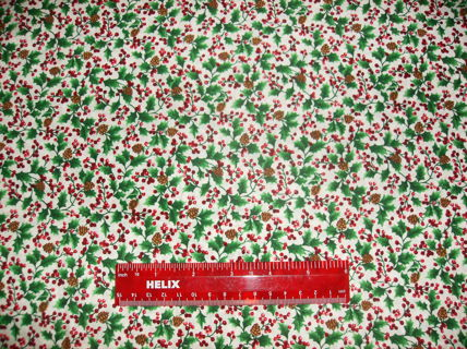 "CHRISTMAS  QUILTING FABRIC : Holly & Pine Cones  - Fat Quarter Approx 18"" by 22"""