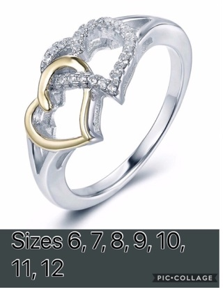 Women's fashion 925 sterling silver white sapphire engagement wedding hearts ring