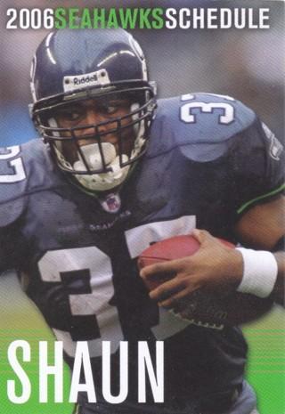 Seattle Seahawks 2006 Pocket Schedule Shaun Alexander