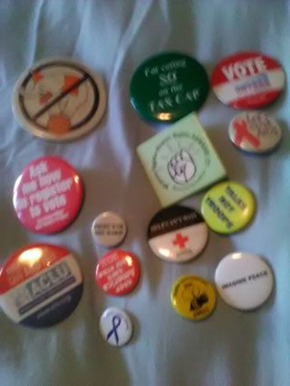 Group of pins, mostly voting ones pre 2005, inc Aids, ACLU, Child Abuse etc.