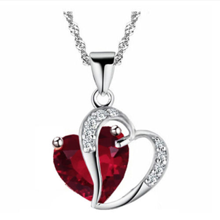 Heart Crystal Rhinestone Silver Chain Pendant Necklace Jewelry for women
