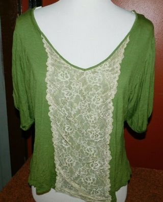 Lacey Stretchy Wide Neck Glamour Shirt Top Loose Fit Blouse Green-White Medium