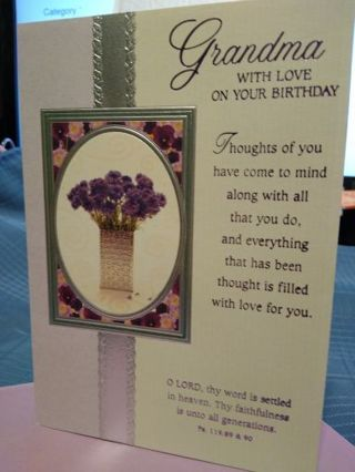 """""""GRANDMA WITH LOVE ON YOUR BIRTHDAY"""" CARD W/ LAVENDER ENVELOPE"""