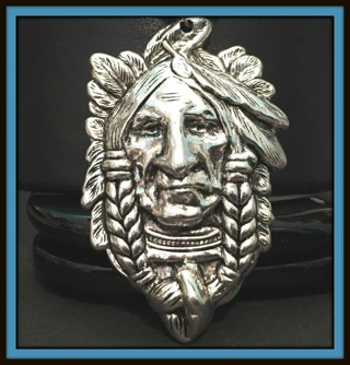 NICE! Large 3D Native American Indian Chief with Headdress Tibetan Silver Pendant, 57mm x 37mm, NEW!