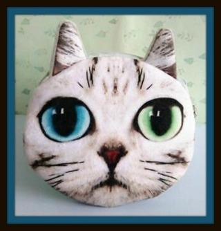 US SELLER! Sweet KITTY CAT One BLUE & One GREEN EYE Coin Purse w/ Zipper & Bead Keychain, NEW!