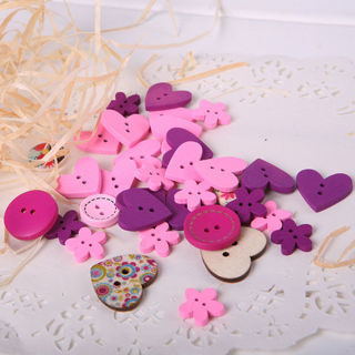 [GIN FOR FREE SHIPPING] 100PCs Round Love Heart 2 Holes Sewing Buttons DIY Scrapbooking