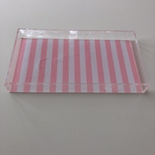 Victoria's Secret Classic Pink & White Stripe Display Tray • Free Shipping