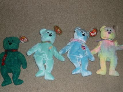 Free  4 Ty beanie Baby Bears Wallace 0b74578dc72