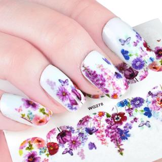 1 Sheet Nail Art Water Decals Flower Butterfly Nail Sticker Nail Transfer Stickers Full Wraps Nail