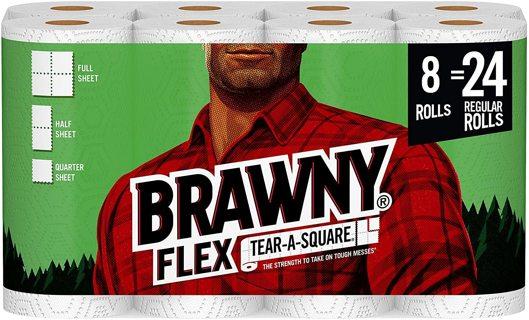 )っ◕‿◕)っ:❢Brawny Flex Paper Towels, 8 Triple Rolls ♥❁✔